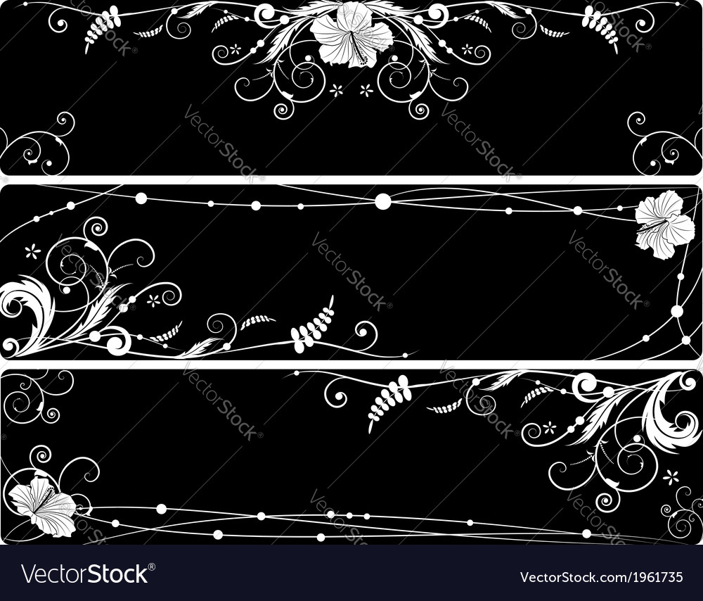 Set of floral banners with hibiscus vector | Price: 1 Credit (USD $1)