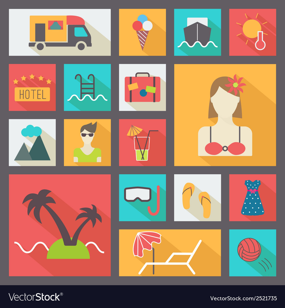 Summer and vacation icons set flat design vector | Price: 1 Credit (USD $1)