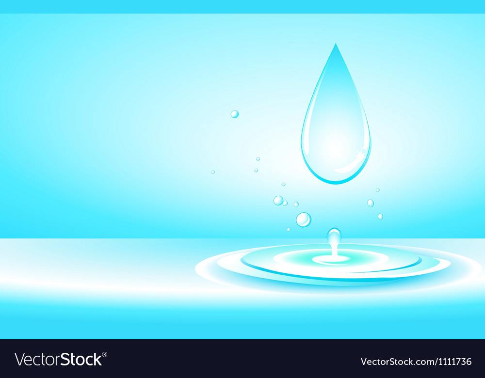 Background with pure water drop and splash vector | Price: 1 Credit (USD $1)
