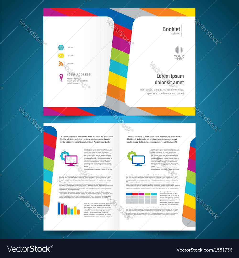 Booklet catalog brochure folder colorful line vector | Price: 1 Credit (USD $1)