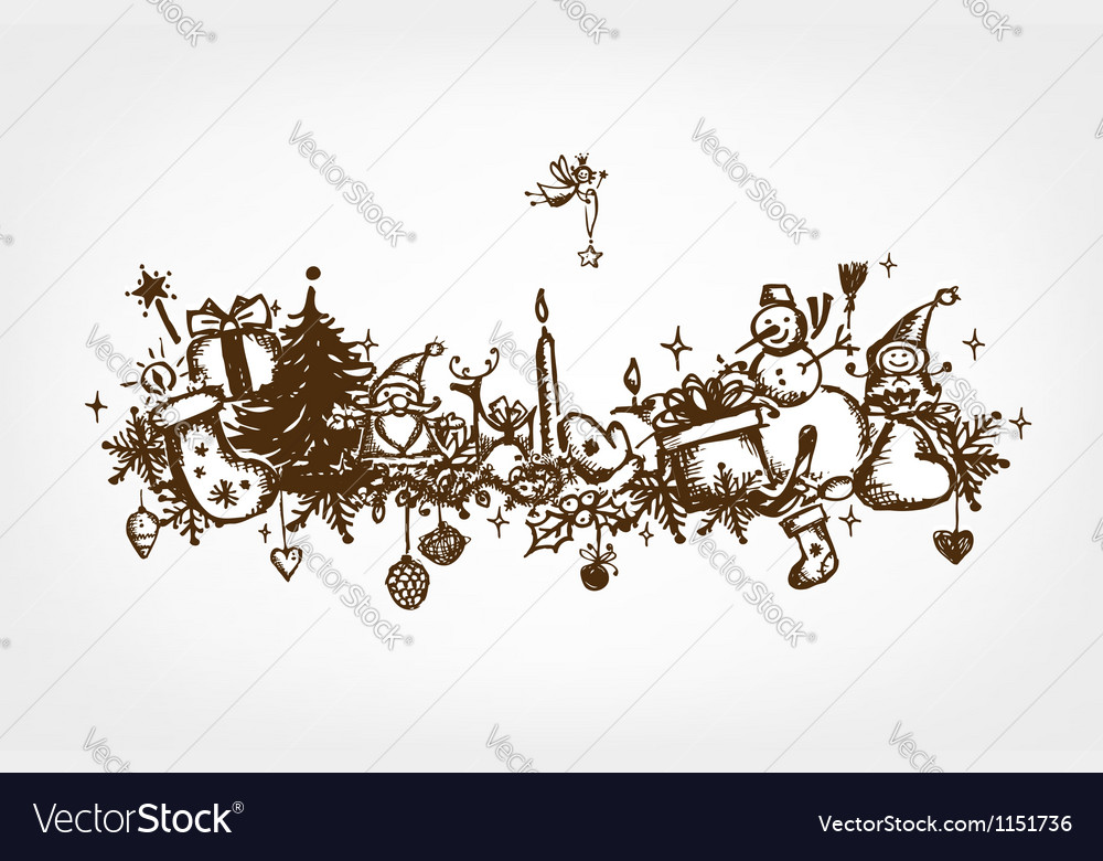 Christmas frame sketch drawing for your design vector | Price: 1 Credit (USD $1)