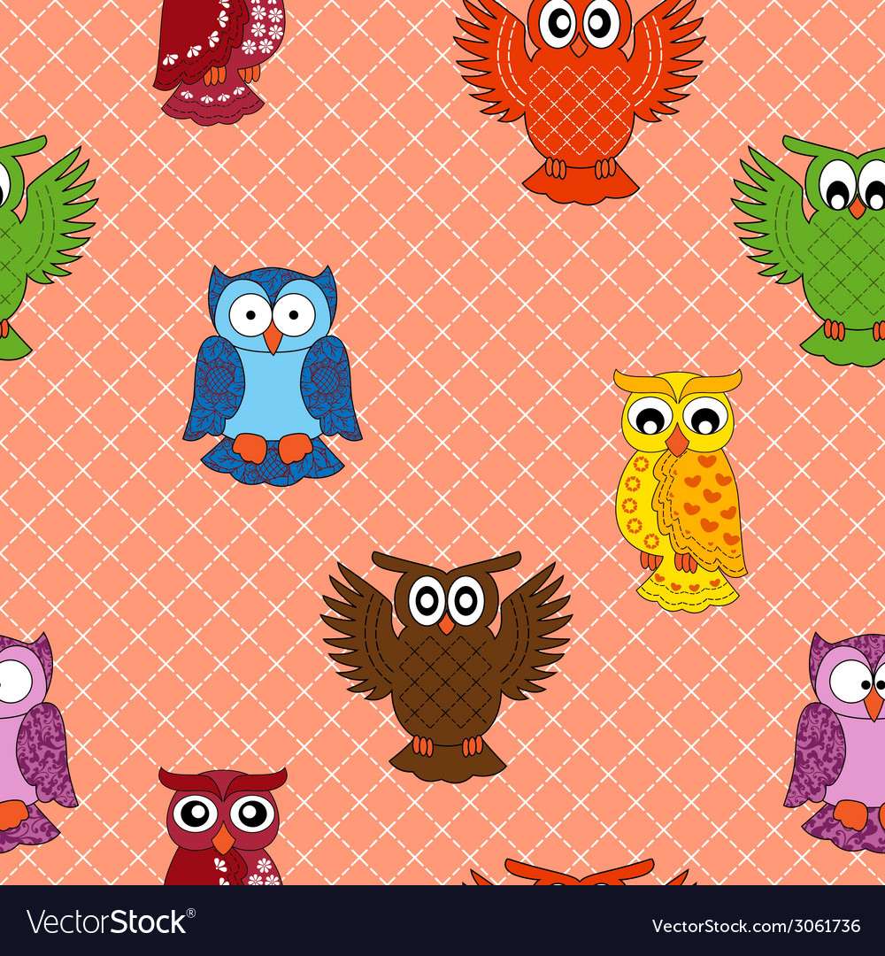 Colourful owl seamless pattern vector | Price: 1 Credit (USD $1)