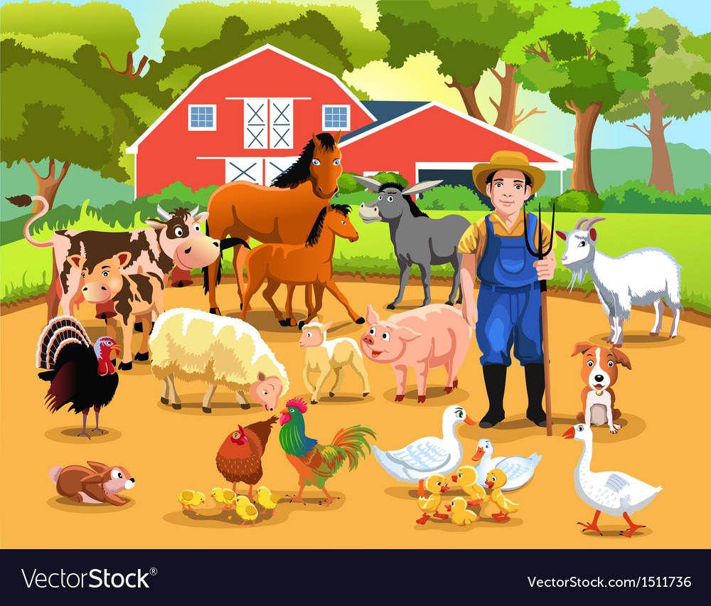Farm with animals vector | Price: 5 Credit (USD $5)