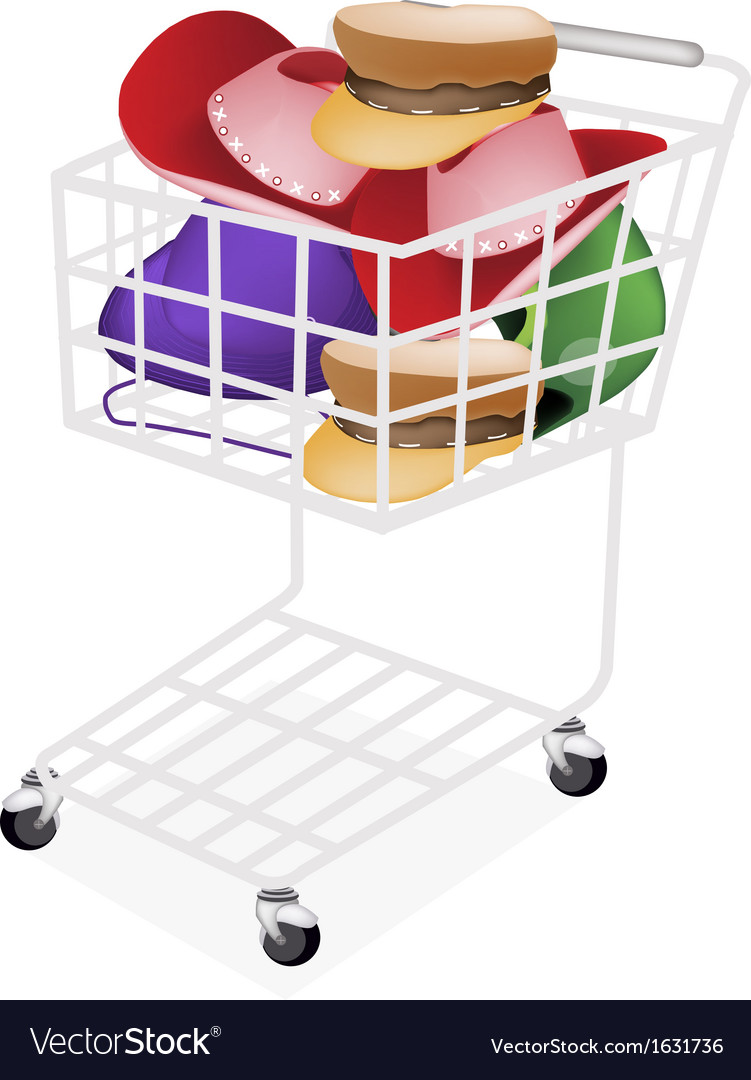 Hats and helmet in a shopping cart vector | Price: 1 Credit (USD $1)