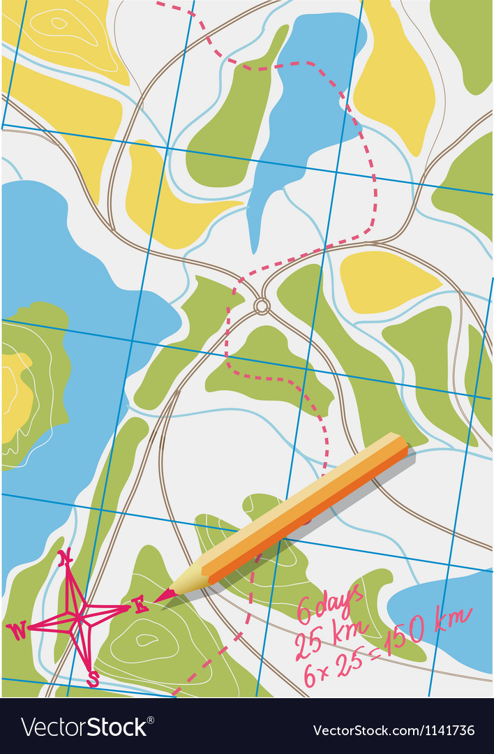 Map of trip on the forests vector | Price: 1 Credit (USD $1)