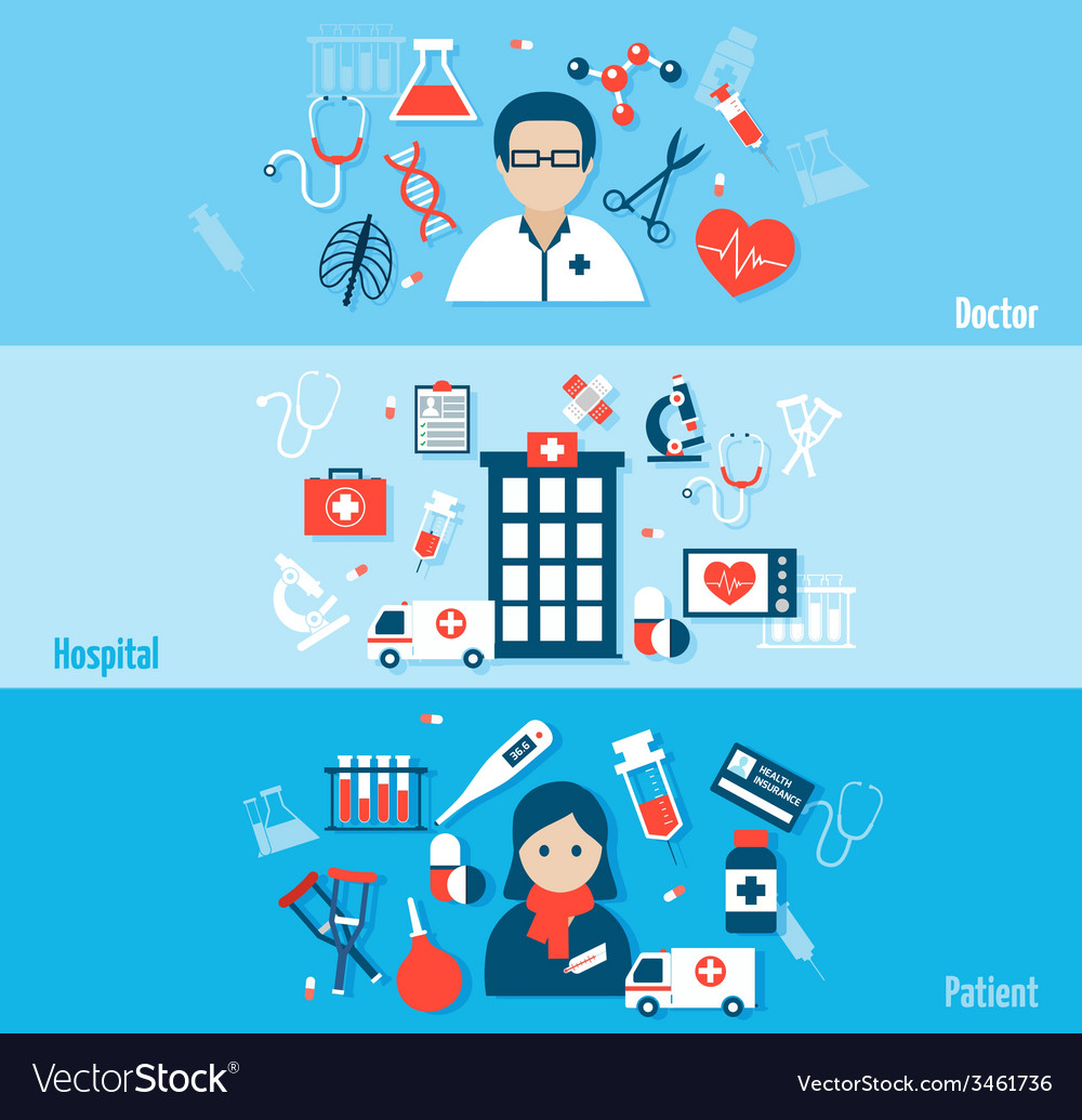 Medical flat banners set vector | Price: 1 Credit (USD $1)