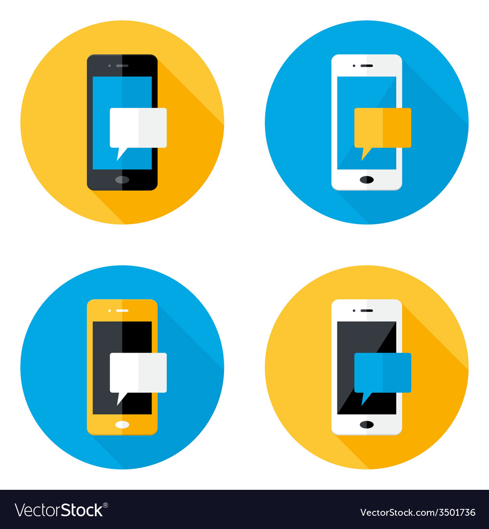Mobile message circle flat icons set vector | Price: 1 Credit (USD $1)