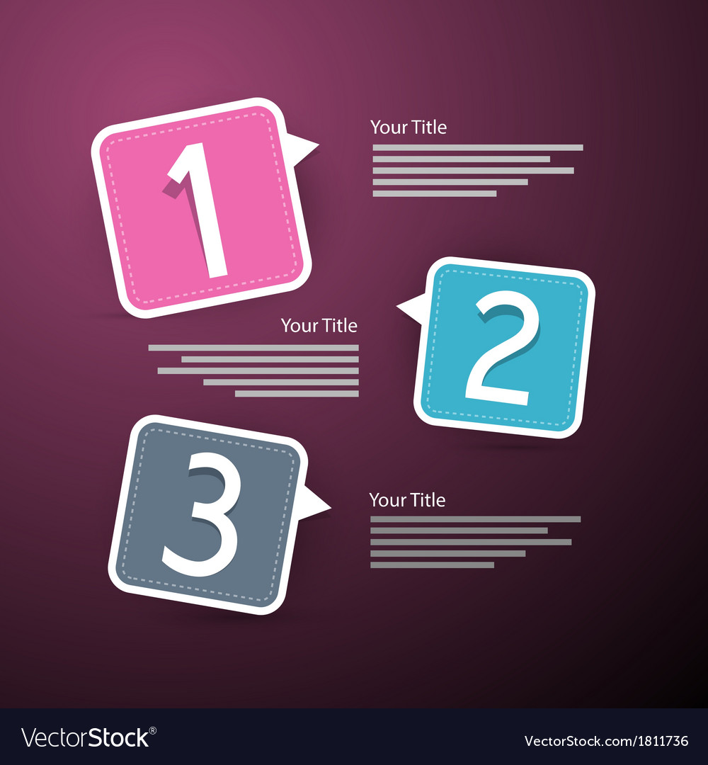 Progress three steps for tutorial infographics vector | Price: 1 Credit (USD $1)