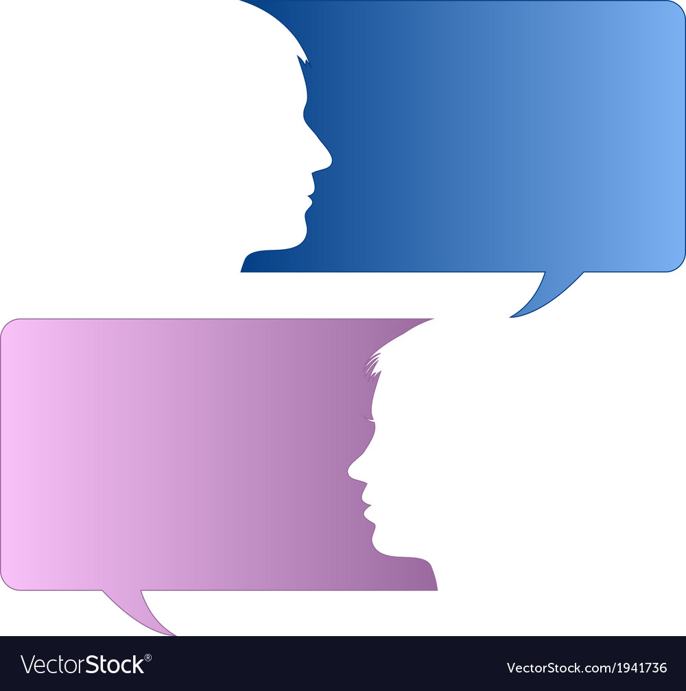 Speech bubbles with male and female face vector | Price: 1 Credit (USD $1)