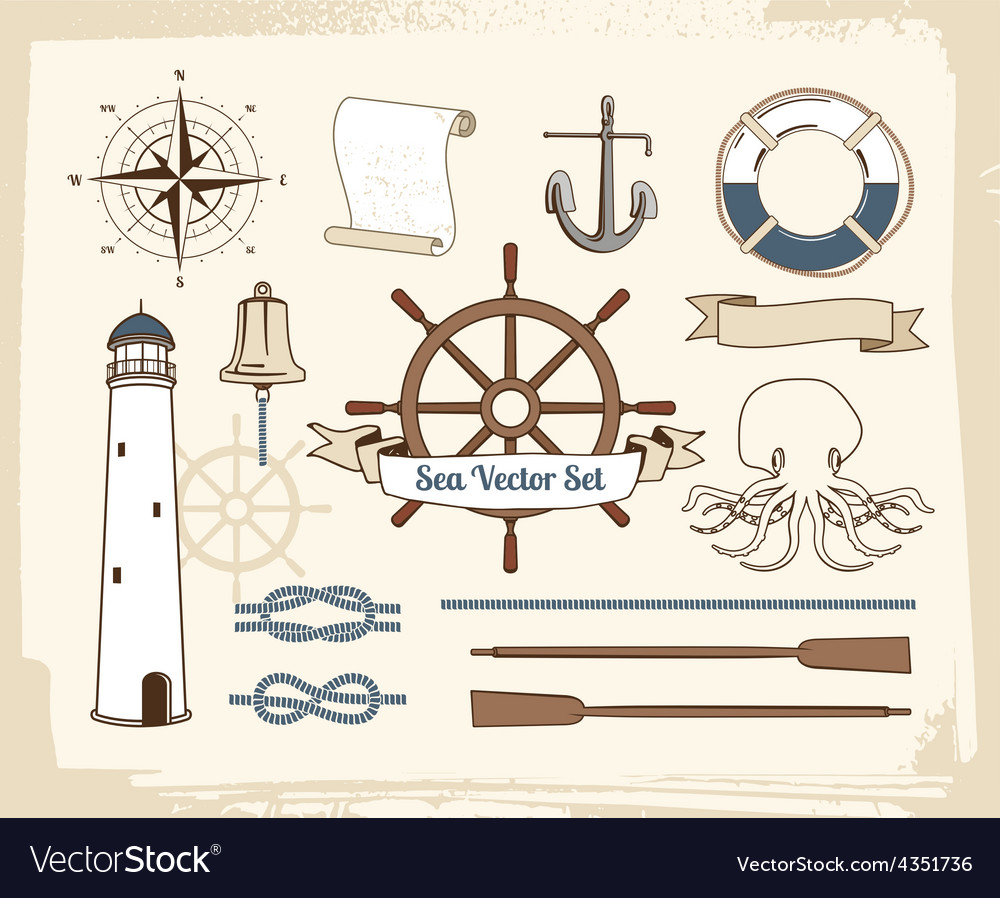 Vintage nautical decoration set vector | Price: 1 Credit (USD $1)