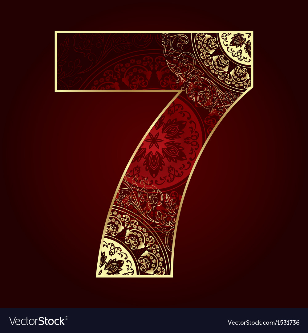 Vintage number 7 with floral swirls vector | Price: 1 Credit (USD $1)