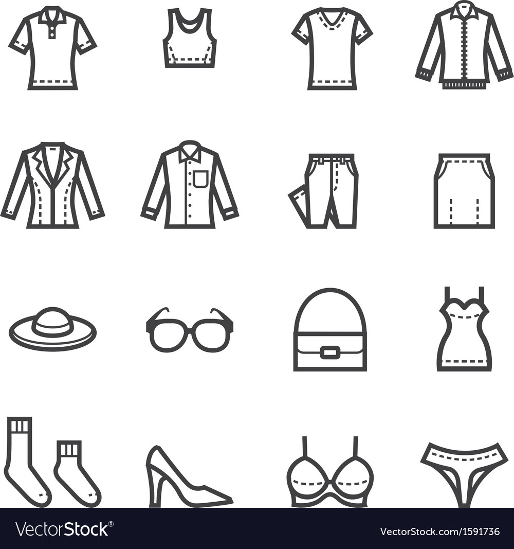 Women clothing icons vector | Price: 1 Credit (USD $1)