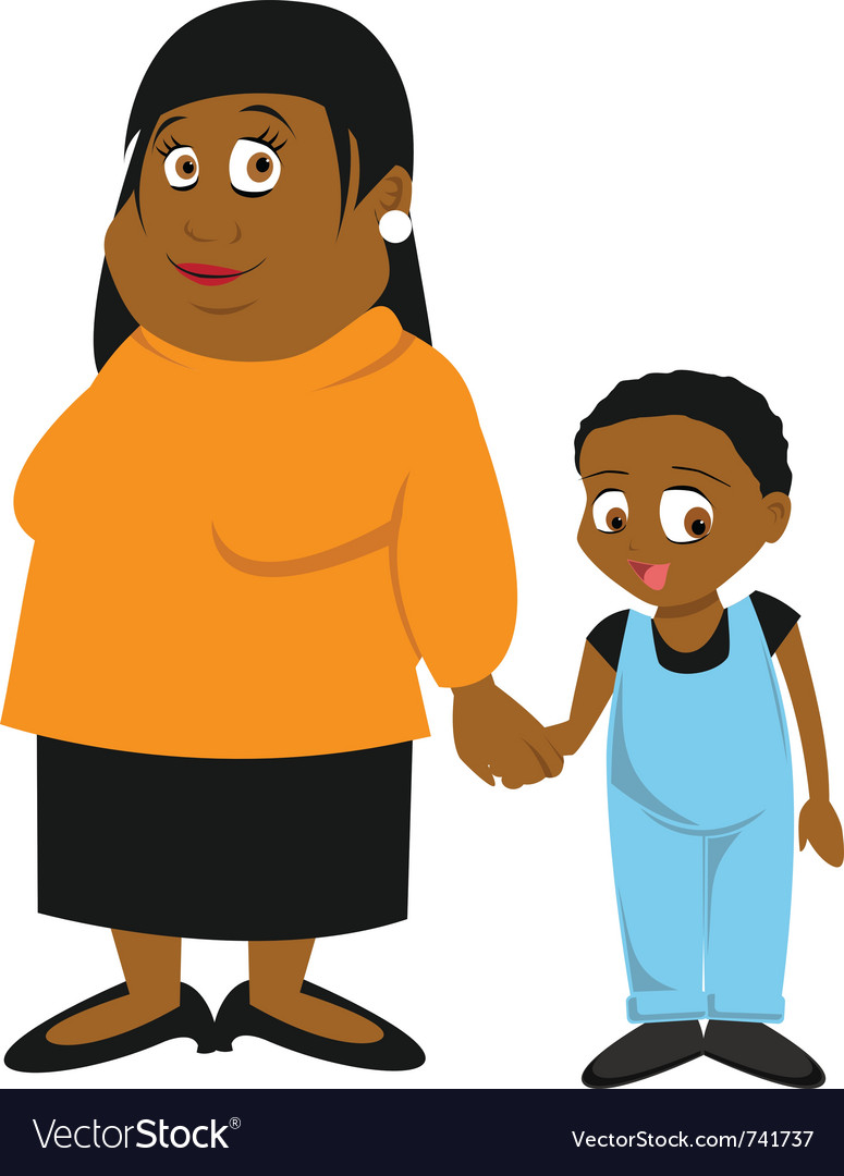 Black mother and son vector | Price: 3 Credit (USD $3)