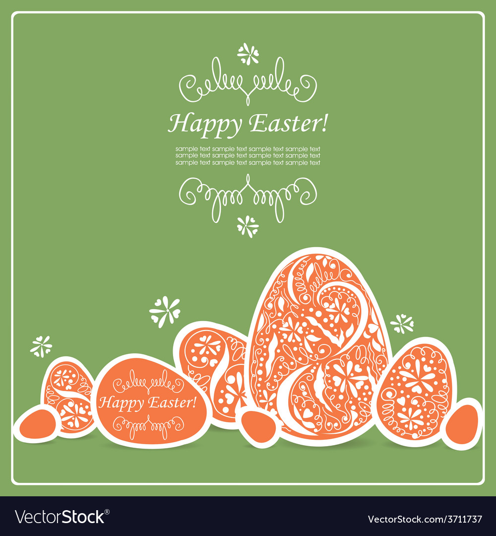 Card with easter eggs vector | Price: 1 Credit (USD $1)