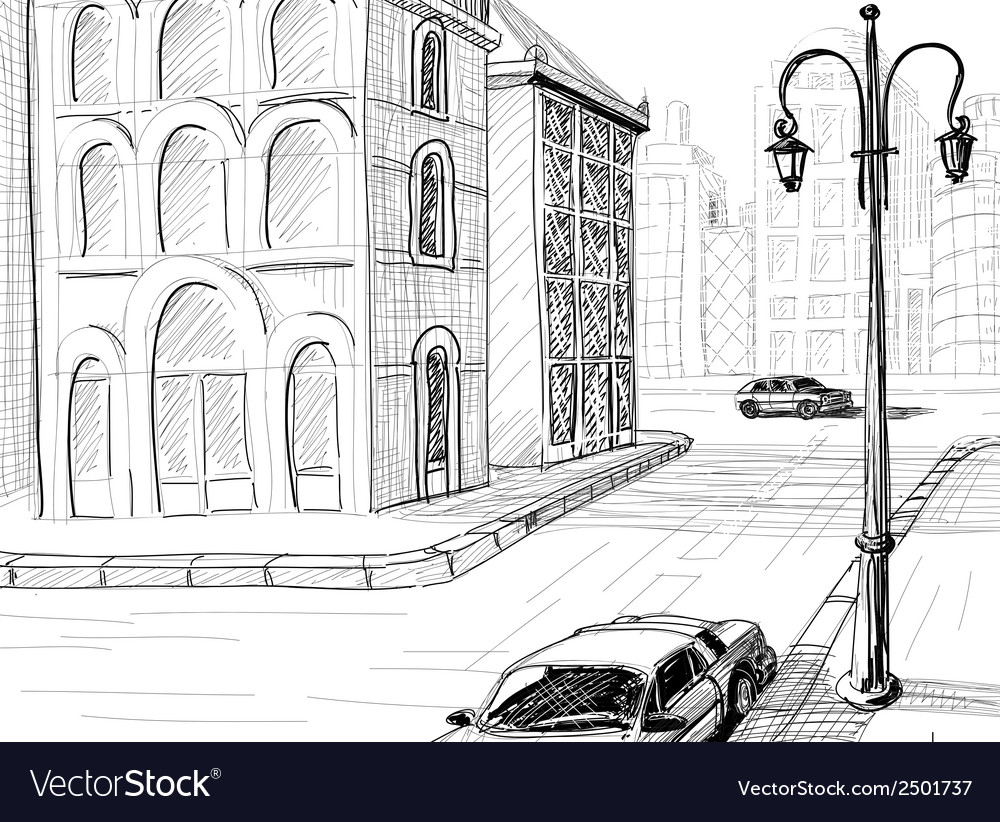 City sketch background vector | Price: 1 Credit (USD $1)