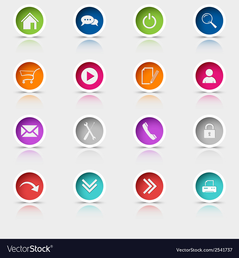 Colored set round web buttons vector | Price: 1 Credit (USD $1)