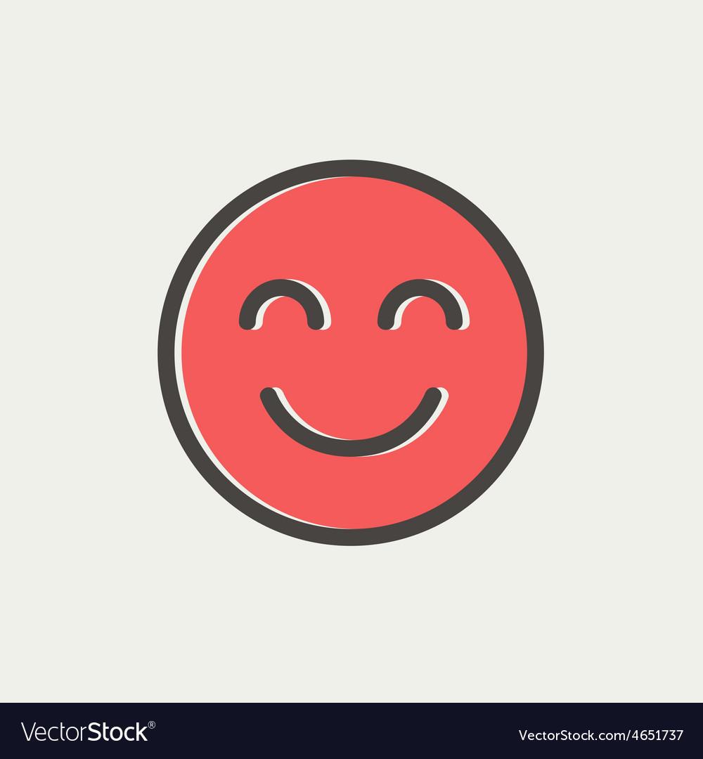 Cute smile thin line icon vector