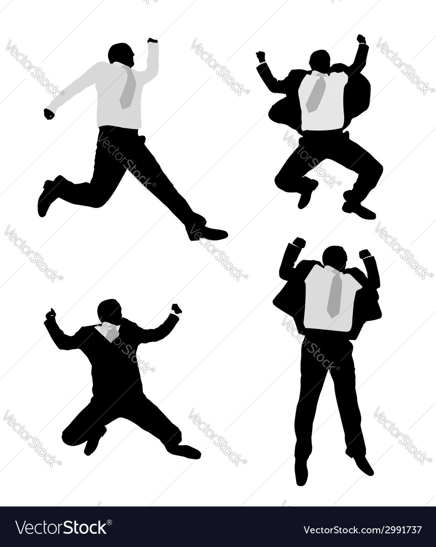 Excited businessmen jump vector | Price: 1 Credit (USD $1)