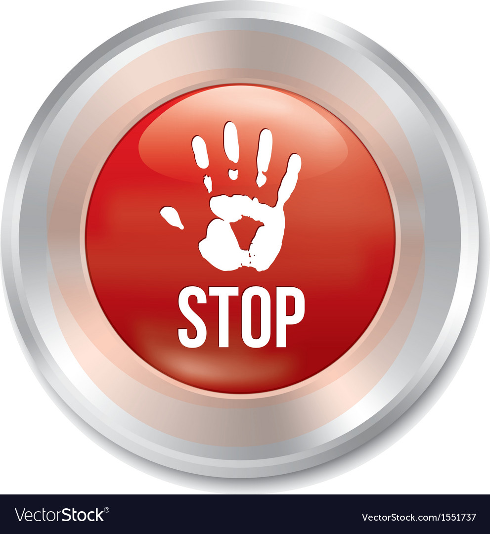 Hand stop button age limit red round sticker vector | Price: 1 Credit (USD $1)