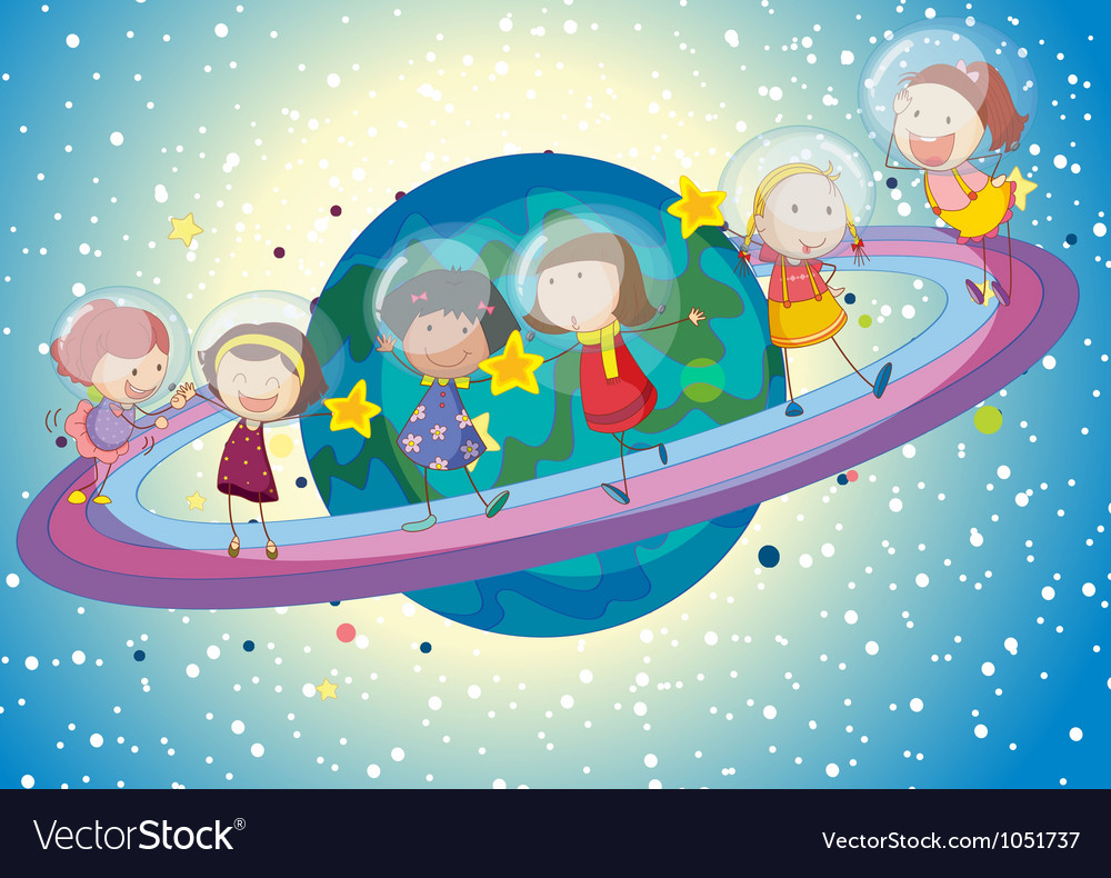 Kids on planet vector | Price: 3 Credit (USD $3)