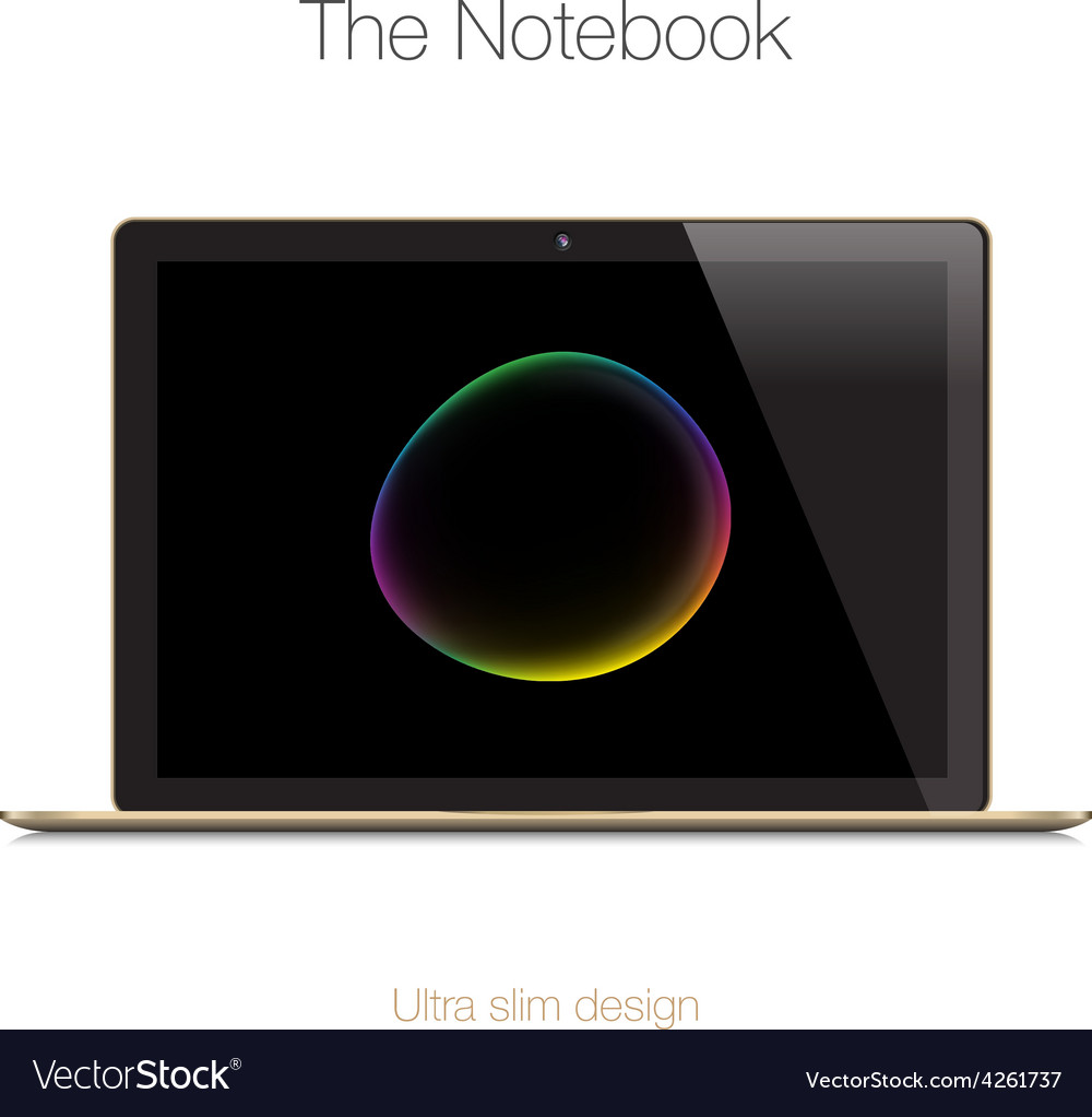 Modern gold glossy laptop isolated on white vector | Price: 1 Credit (USD $1)