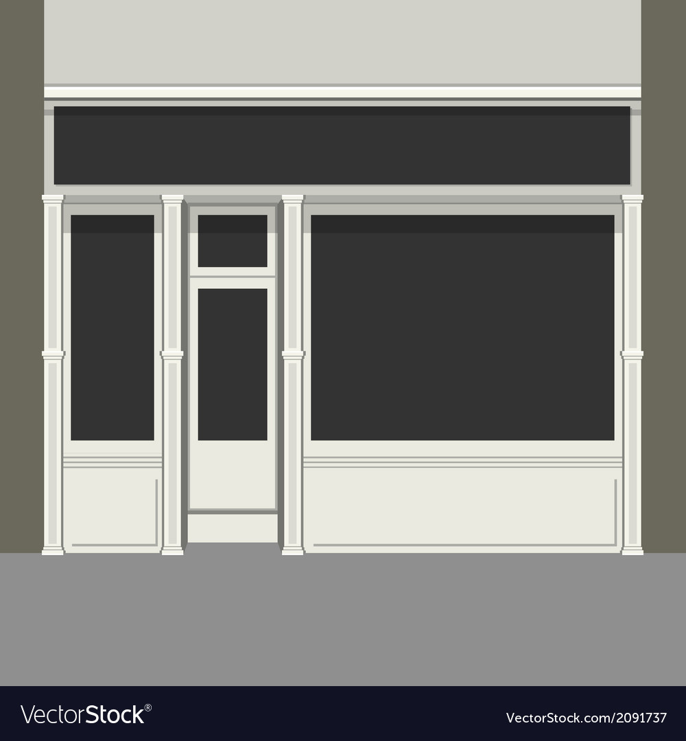 Shopfront with black windows light store facade vector | Price: 1 Credit (USD $1)