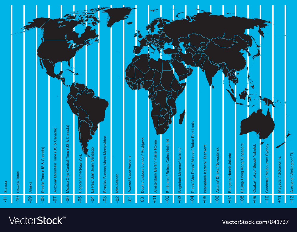 World map and time zones vector | Price: 1 Credit (USD $1)