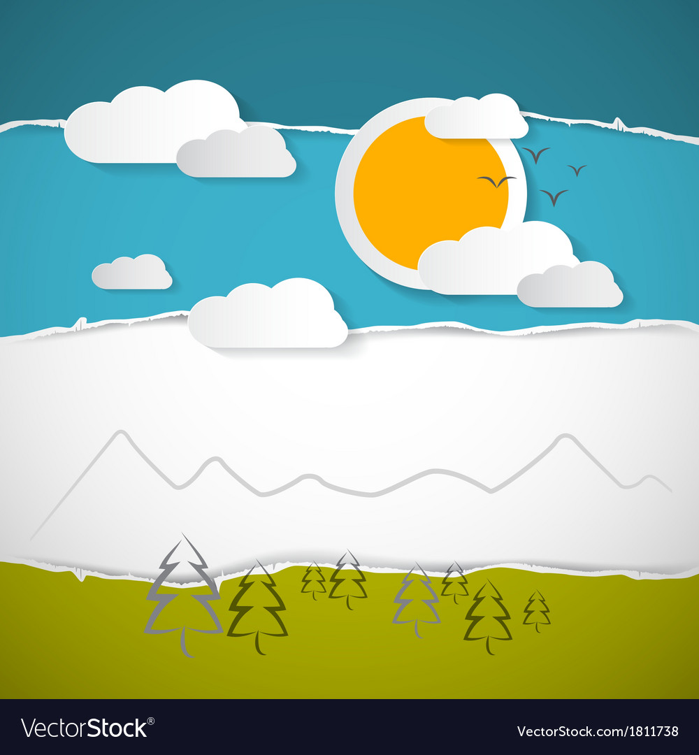 Abstract trees clouds mountain sun on retro torn vector | Price: 1 Credit (USD $1)