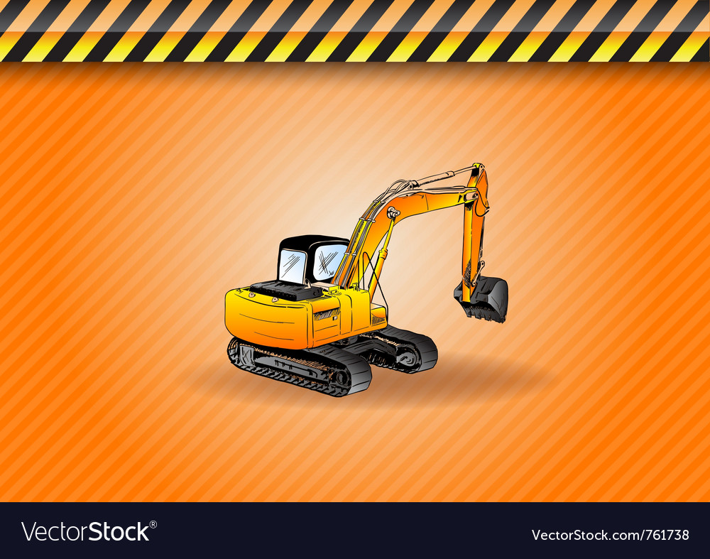 Big digger on the background vector | Price: 3 Credit (USD $3)