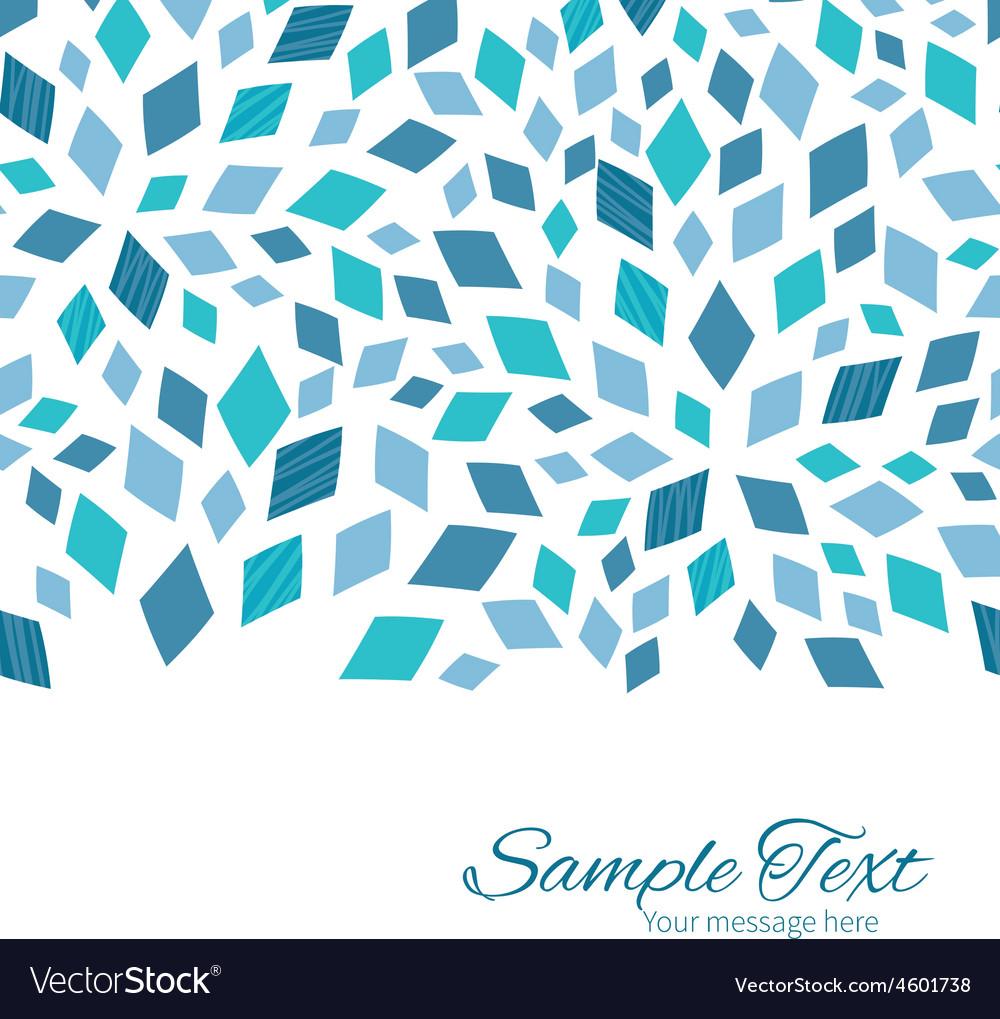Blue mosaic texture horizontal border card vector | Price: 1 Credit (USD $1)
