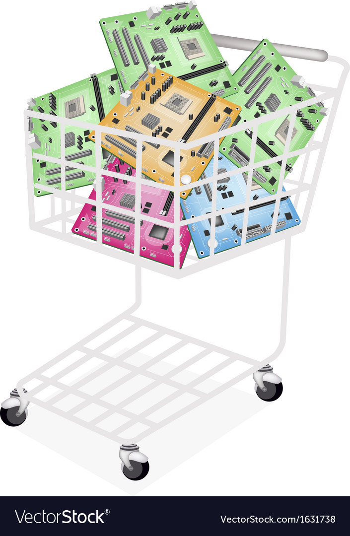 Colorful computer motherboard in a shopping cart vector | Price: 1 Credit (USD $1)