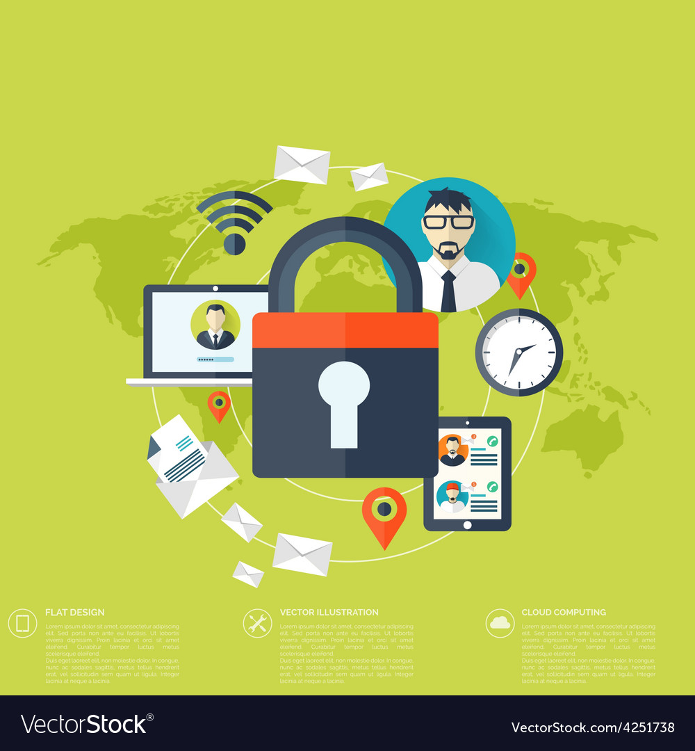 Flat padlock icon data protection concept social vector | Price: 1 Credit (USD $1)