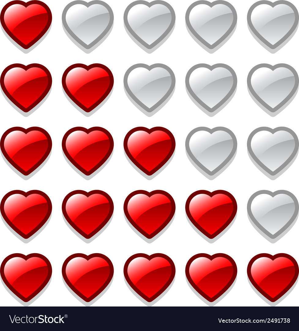 Game web rating hearts set vector | Price: 1 Credit (USD $1)