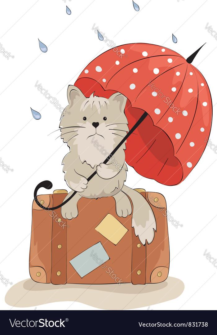 Sad cat with an umbrella vector | Price: 1 Credit (USD $1)