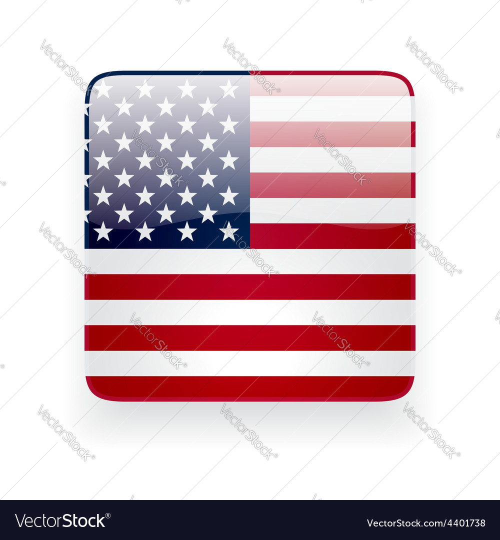 Square icon with flag of the usa vector | Price: 1 Credit (USD $1)
