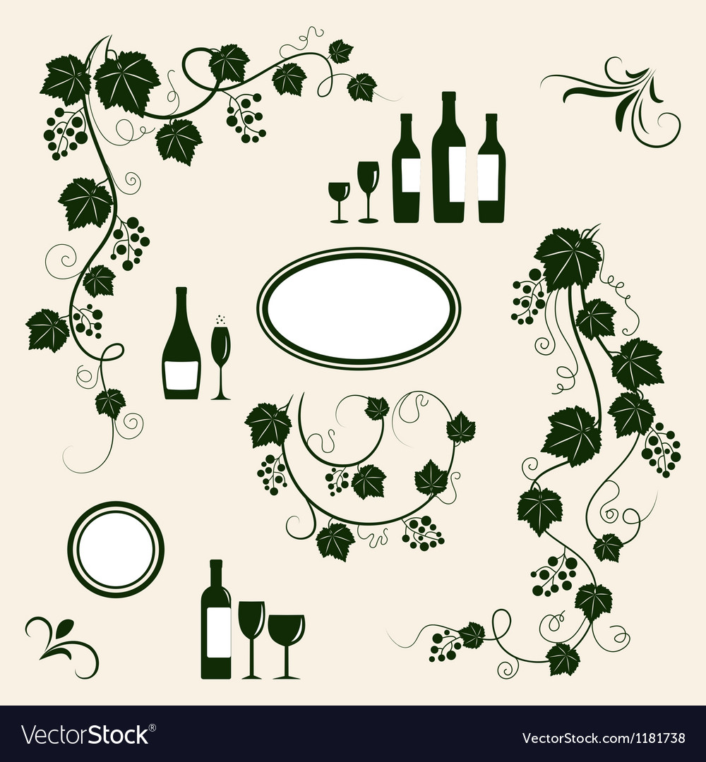 Winery design object silhouettes vector | Price: 1 Credit (USD $1)
