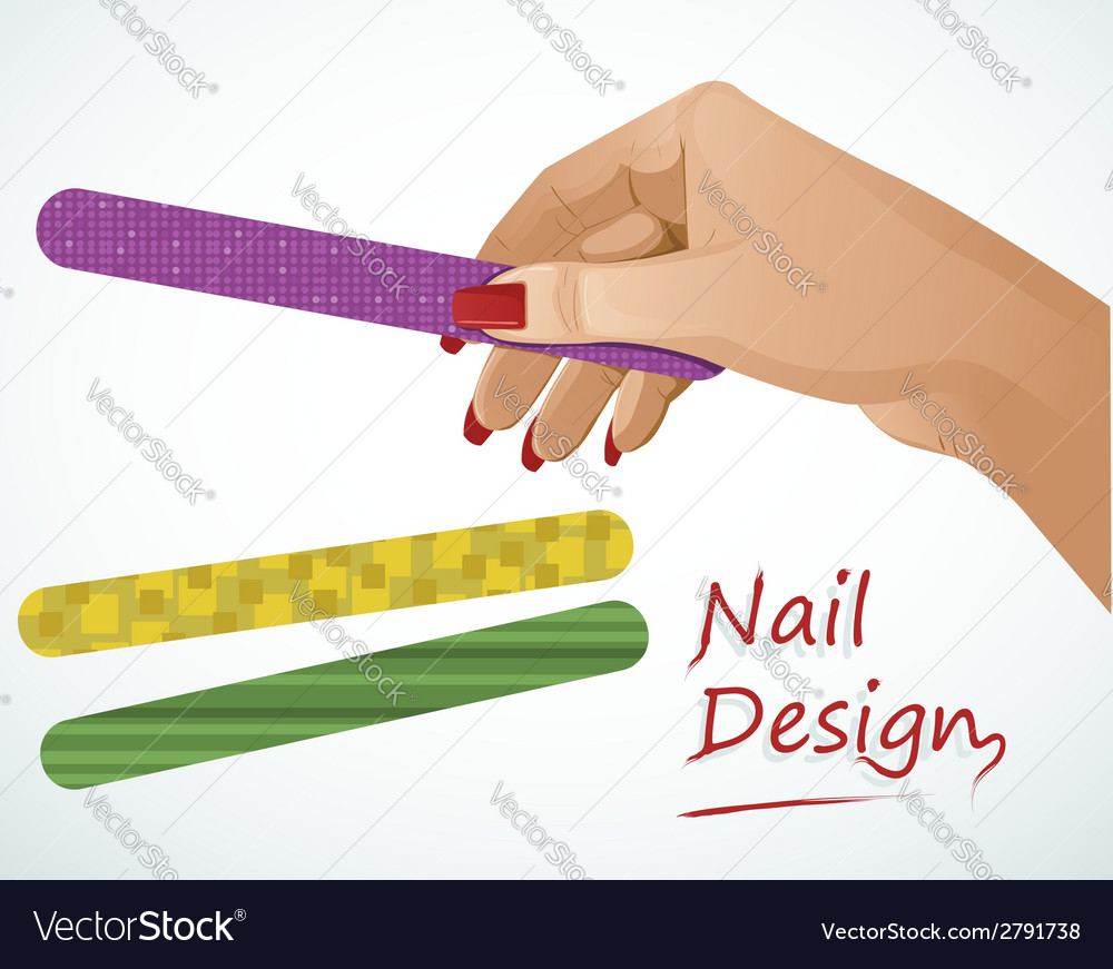 Woman hand holding a nail file vector | Price: 1 Credit (USD $1)