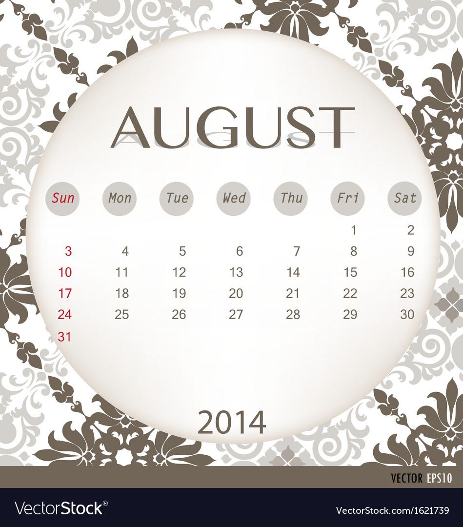 2014 calendar vintage calendar template for august vector | Price: 1 Credit (USD $1)