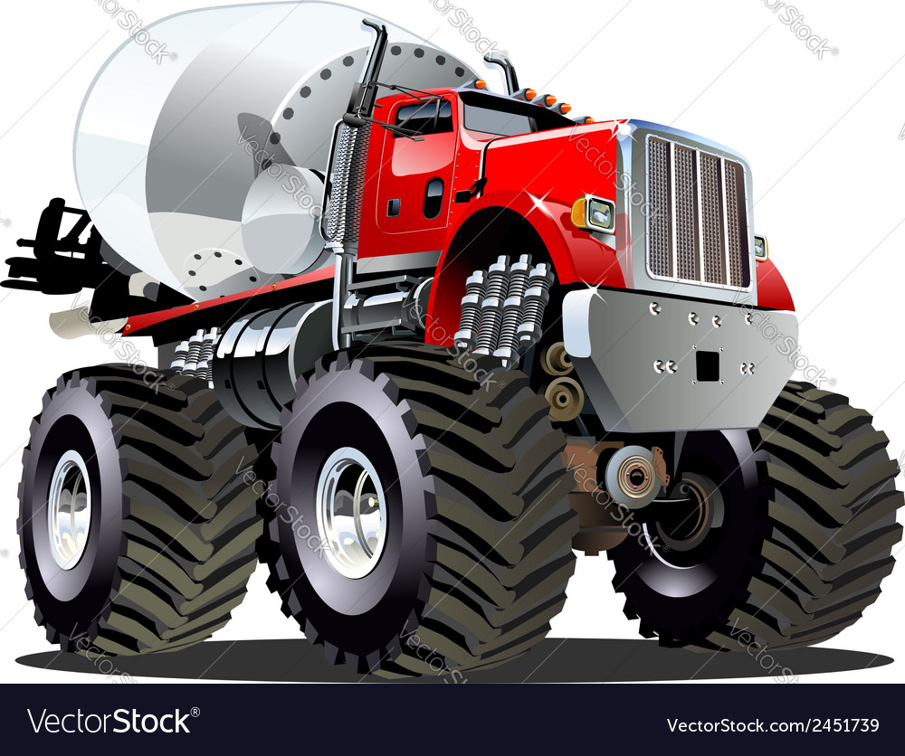 Cartoon mixer monster truck vector | Price: 3 Credit (USD $3)
