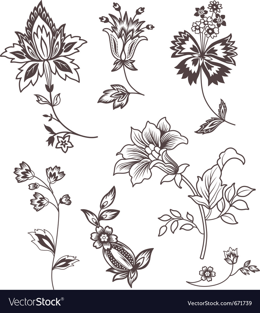 Decor floral elements vector | Price: 1 Credit (USD $1)