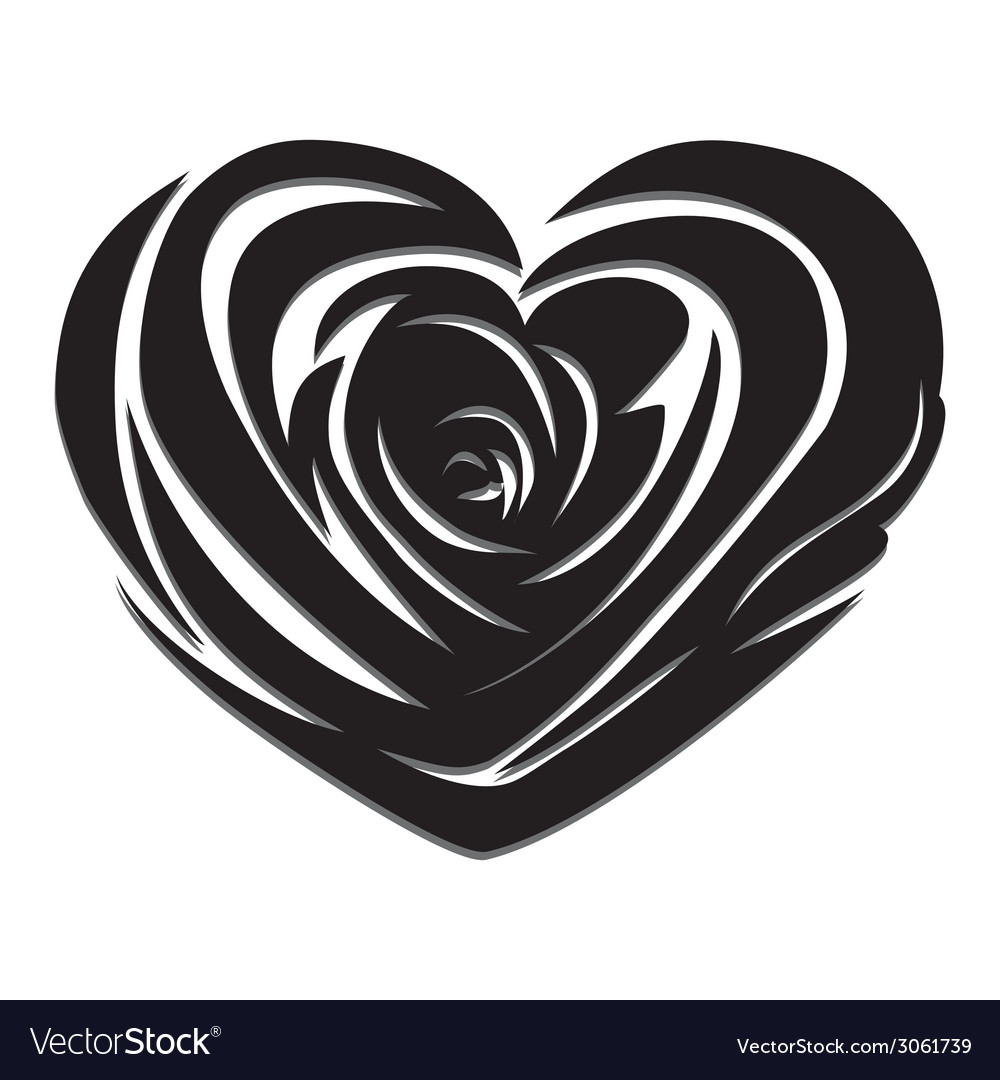 Flower love heart valentine day tattoo vector | Price: 1 Credit (USD $1)