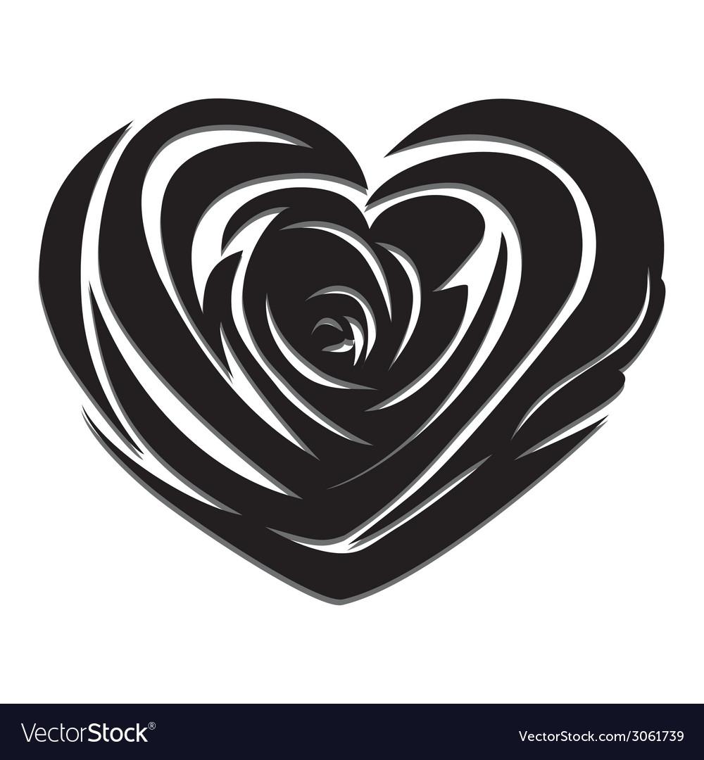 Flower love heart valentine day tattoo vector | Price: 1 Credit (USD $1)