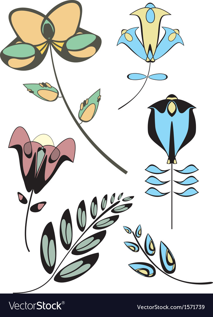 Flowers decor collection vector | Price: 1 Credit (USD $1)