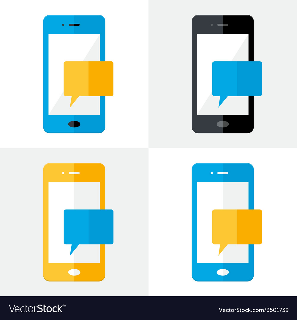 Mobile notification flat icons set vector | Price: 1 Credit (USD $1)