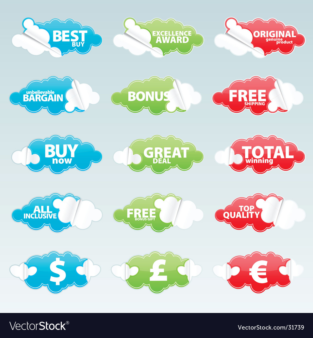 Retail retro peeling stickers vector | Price: 1 Credit (USD $1)