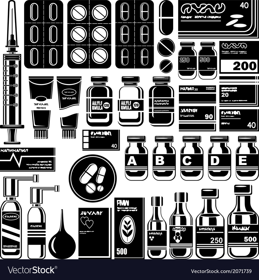Set of medicament symbols vector | Price: 1 Credit (USD $1)