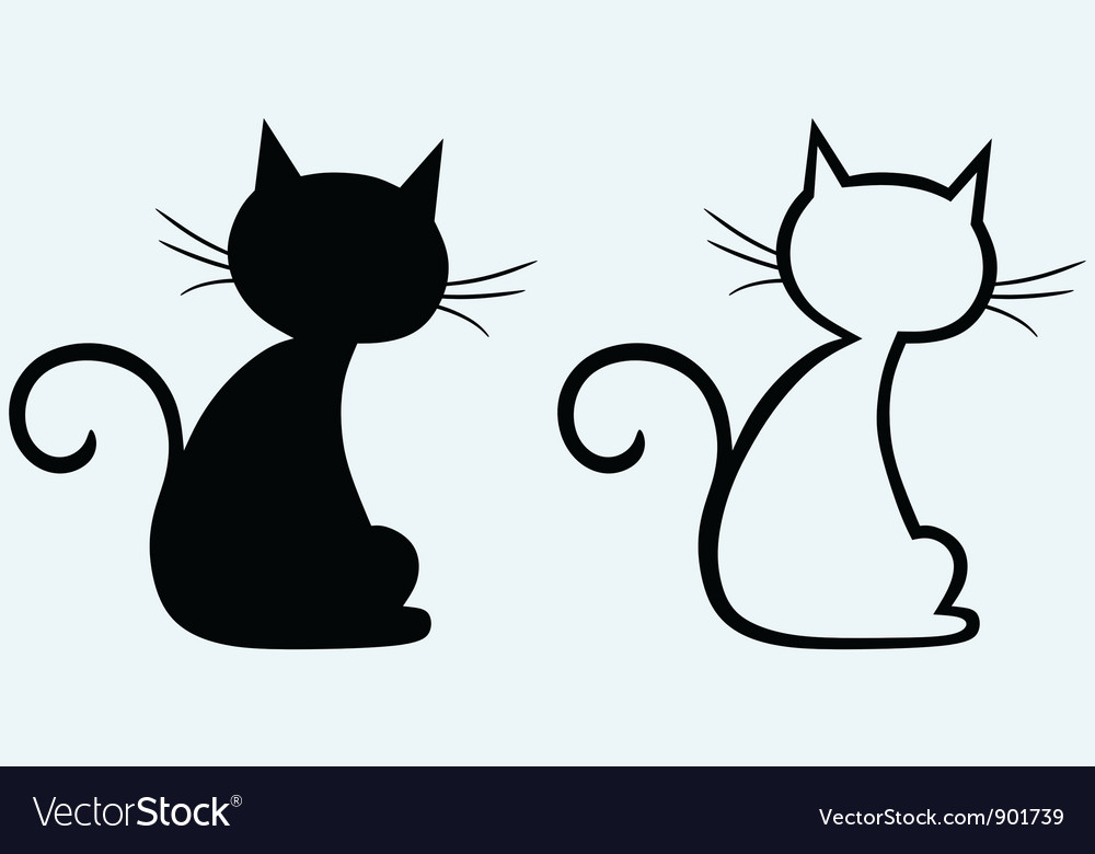 Silhouette kitten vector | Price: 1 Credit (USD $1)