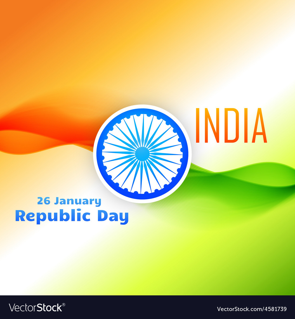 Tri color indian flag design for republic day vector | Price: 1 Credit (USD $1)