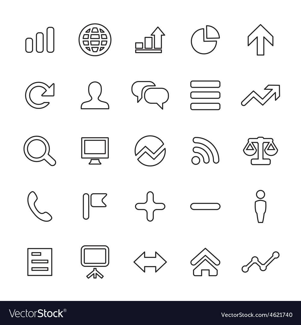 25 outline universal analytics research icons vector | Price: 1 Credit (USD $1)