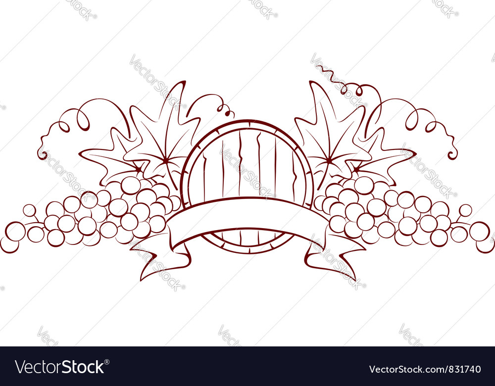 Design element - a barrel and grapes vector | Price: 1 Credit (USD $1)